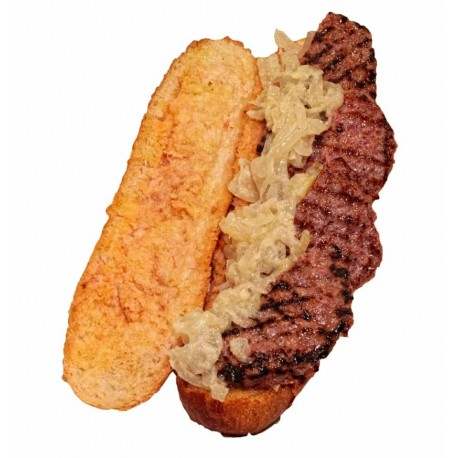 Bocadillo de hamburguesa con cebolla