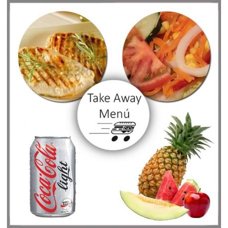Take Away Menú, 1 plato con guarnición, 1 postre y 1 bebida